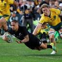 Aaron Smith scores New Zealand's first try against Australia in the first Bledisloe Cup test on Saturday in Sydney. The All Blacks won 38-13.