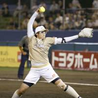 Japan's Yukiko Ueno pitches against China in a Women's Softball World Championship game on Saturday in Ichihara, Chiba Prefecture. Japan beat China 5-0. | KYODO