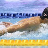 Daiya Seto competes in the men's 200-meter butterfly final at the Pan Pacific Championships on Friday at Tokyo Tatsumi International Swimming Center. Seto won the race. | KYODO