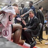 Former Grand Rapids Drive head coach Rex Walters, seen talking to his players in a timeout during the 2016-17 season, has added a podcast to his list of basketball-related activities. | GRAND RAPIDS DRIVE
