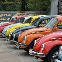 Vintage Volkswagen Beetle cars are parked during an event held as part of the 23rd anniversary of 'Worldwide VW Beetle Day' in June in Bangalore, India. | AFP-JIJI