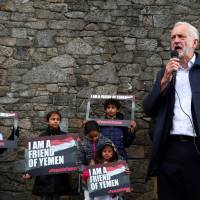 British Labour Party leader Jeremy Corbyn speaks at a vigil for peace in Yemen during the annual Labour Party Conference in Liverpool, Britain, Sunday. | REUTERS