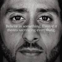 An ad taken from the official Twitter account of apparel company Nike shows Colin Kaepernick, the former San Francisco 49ers quarterback who sparked controversy by kneeling during the national anthem to protest racial injustice. Kaepernick will be the face of a Nike ad campaign for the 30th anniversary of its 'Just Do It' motto.
