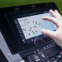 Google's maps application is tested on a touch screen inside an Audi AG A8 sedan during a launch event in Barcelona, Spain. | BLOOMBERG