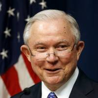 Attorney General Jeff Sessions talks about efforts to combat violent crime during a stop at the U.S. Attorney's Office in Kansas City, Missouri, Sept. 13. The Justice Department says Sessions and other Justice Department officials will speak Monday in Birmingham at the department's National Public Safety Partnership Symposium. | AP