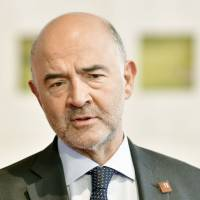 European Commissioner for Economic and Financial Affairs, Taxation and Customs Pierre Moscovici attends an informal meeting of economic and financial affairs ministers in Vienna on Saturday.   AFP-JIJI