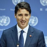 Canadian Prime Minister Justin Trudeau speaks during a news conference at the U.N. headquarters on Wednesday. | AP