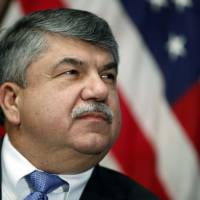 AFL-CIO President Richard Trumka listens at the National Press Club in Washington last year. Trump tweeted Monday that Trumka 'represented his union poorly on television this weekend.' He added: 'it is easy to see why unions are doing so poorly. A Dem!' | ALEX BRANDON / VIA AP