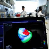 A monitor shows a three-dimensional image of a human heart at the Klaus-Tschira-Institute for Integrative Computational Cardiology at the Heidelberg University Hospital in Germany on Aug. 14. | REUTERS