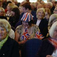 Audience members wait for the start of the Save Brexit rally organized by the Leave Means Leave campaign in Bolton, northwest England, on Saturday. | AFP-JIJI