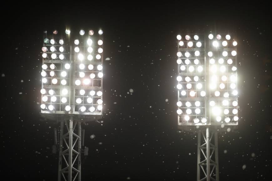 Mayflies swarm around ballpark lights during a baseball game in Cincinnati. Light pollution is just one of many threats to insects.   AP