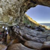 The interior of Blombos Cave is pictured on South Africa's southern coast in this photo released Wednesday. | MAGNUS HAALAND / HANDOUT / VIA REUTERS