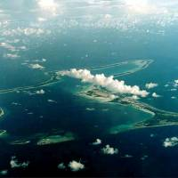 Diego Garcia, the largest island in the Chagos archipelago and site of a major United States military base in the middle of the Indian Ocean leased from Britain, is seen in 1966. | REUTERS