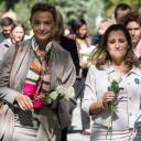 Croatian Foreign Minister Marija Pejcinovic Buric (left) and Canadian Foreign Minister Chrystia Freeland lead other female foreign ministers in honoring victims of gender-based violence by remembering the 1989 Ecole Polytechnique massacre, when anti-feminist gunman Marc Lepine killed 14 women, in Montreal on Saturday.