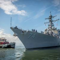 The guided-missile destroyer USS McFaul (DDG 74) departs Naval Station Norfolk on Monday in preparation for Hurricane Florence. Commander, US Fleet Forces Command ordered all Navy Ships in the Hampton Roads area to sortie ahead of Hurricane Florence. There are nearly 30 ships preparing to get underway from Naval Station Norfolk and Joint Expeditionary Base Little Creek as Hurricane Florence is forecasted to bring high winds and rain to the Mid-Atlantic coast. | MASS COMMUNICATION SPECIALIST 3RD CLASS CALEDON RABBIPAL  / U.S. NAVY / VIA AFP-JIJI