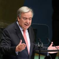 United Nations Secretary-General Antonio Guterres delivers the opening address at the 73rd session of the United Nations General Assembly in New York on Tuesday. | REUTERS