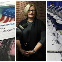 A Facebook posting from a group named 'Being Patriotic,' which the U.S. House Intelligence Committee attributed to Russian agents; Democratic Missouri Sen. Claire McCaskill, whose campaign was targeted by Russian hackers; voting machines in Chicago after hackers found a way into the voter registration database at the Illinois State Board of Elections in mid-2016. | AP