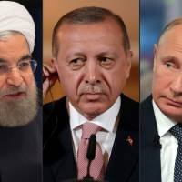 This combination of pictures created Thursday shows (from left): Iranian President Hassan Rouhani, Turkish President Recep Tayyip Erdogan  and Russian President Vladimir Putin. The presidents of Iran, Russia and Turkey meet on Friday in Tehran for a summit set to decide the future of Idlib province amid fears of a humanitarian disaster in Syria's last major rebel bastion. | AFP-JIJI