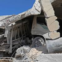 This picture shows the destruction caused by reported govenrment forces' bombings in the town of Al Habit on the southern edges of the rebel-held Idlib province on Monday. | AFP-JIJI