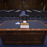 The witness table is prepared for President Donald Trump's Supreme Court nominee, Brett Kavanaugh, in the Senate Judiciary Committee hearing room on Capitol Hill in Washington Monday. | J. SCOTT APPLEWHITE / VIA AP