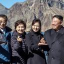 "North Korean leader Kim Jong Un makes the popular ""finger hearts"" gesture atop Mount Paektu — one of the Koreas' most sacred sites — with top officials from both the North and the South on Thursday."