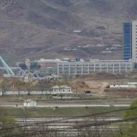 The Kaesong industrial complex in North Korea is seen from the Taesungdong freedom village inside the Demilitarized Zone during a press tour in Paju, South Korea, on April 24.   AP
