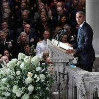 Former U.S. President Barack Obama speaks at the memorial service for U.S. Sen. John McCain  at National Cathedral in Washington on Saturday. | REUTERS