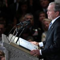 Former U.S. President George Bush speaks at the memorial service for U.S. Sen. John McCain at the National Cathedral in Washington on Saturday. | REUTERS