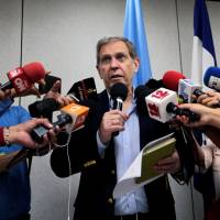 Guillermo Fernandez Maldonado, chief of the U.N.'s human rights mission in Nicaragua, speaks during a news conference in Managua on Friday. | REUTERS