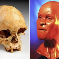 This combination of two undated handout photos provided by Brazil's National Museum shows the skull of Luzia Woman (left) and a reconstruction of Luzia at the National Museum of Brazil in Rio de Janeiro. Discovered during an excavation in 1975 outside of the Brazilian city of Belo Horizonte, Luzia's fossilized remains sat in storage for two decades. In the mid-1990s, tests by scientists determined it was the oldest fossil in the Americas. It was given the name 'Luzia,' homage to 'Lucy,' the famous 3.2-million-year-old remains found in Africa. | MUSEU NACIONAL BRASIL / VIA AP