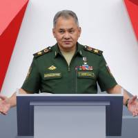 Russian Defense Minister Sergei Shoigu delivers a speech during a forum in Moscow on Aug. 21. | REUTERS