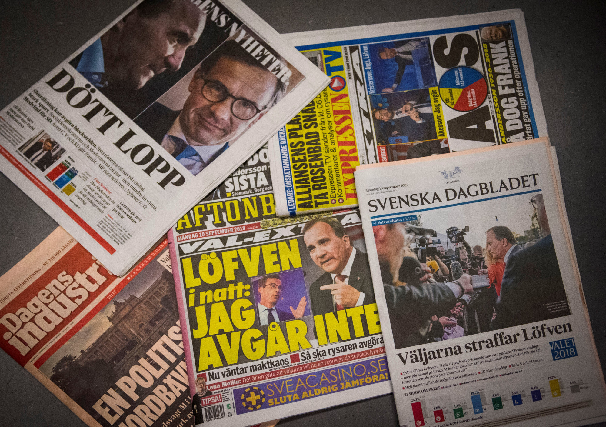 Front pages of Swedish newspapers are seen a day after day after the general election, in Stockholm on Monday. | REUTERS
