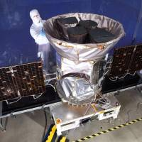 TESS, the Transiting Exoplanet Survey Satellite, is shown in this NASA photo obtained by Reuters in March. | NASA / HANDOUT / VIA REUTERS