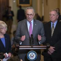 Senate Minority Leader Chuck Schumer, D-N.Y., joined by Sen. Patty Murray, D-Wash., and Sen. Dick Durbin, D-Ill., meets with reporters about the confirmation for President Donald Trump's Supreme Court nominee, Brett Kavanaugh, following a weekly closed-door policy meeting, at the Capitol in Washington Tuesday. | AP