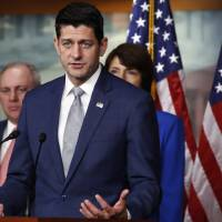 House Speaker Paul Ryan peaks during a news conference Thursday in Washington. Behind him are House Majority Whip Steve Scalise, R-La., and Rep. Cathy McMorris Rodgers, R-Wash. Ryan is rejecting President Donald Trump's assertion an official government death toll for last year's hurricane in Puerto Rico is wrong. The Wisconsin Republican says he has 'no reason to dispute' a study that found nearly 3,000 people on the island died from Hurricane Maria last year. | AP