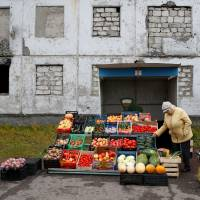 A woman sells fruit and vegetables on a street in the far northern city of Vorkuta, Russia, Sept. 16. | REUTERS