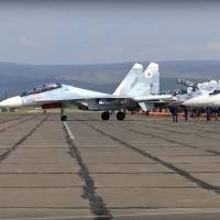 In this frame grab taken from video, provided by the Russian Defense Ministry Press Service on Tuesday, a Russian fighter prepares to take off during the military exercises in the Chita region, Eastern Siberia, during the Vostok 2018 exercises in Russia. Russia's military chief of staff says that the military exercises expected to be the biggest in three decades, will involve nearly 300,000 troops.   RUSSIAN DEFENSE MINISTRY PRESS SERVICE POOL PHOTO / VIA AP