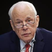 John Dean, former Counsel to President President Richard Nixon, speaks to the Senate Judiciary Committee during the final stage of the confirmation hearing for President Donald Trump's Supreme Court nominee, Brett Kavanaugh, on Capitol Hill in Washington on Friday. | AP