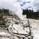 Steamboat Geyser emits a small jet of steam in Yellowstone National Park in Wyoming in May. A thermal spring near Old Faithful in Yellowstone National Park has erupted for the fourth time in the last 60 years, a park official said Thursday.