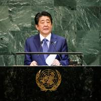 Japanese Prime Minister Shinzo Abe addresses the 73rd session of the United Nations General Assembly at U.N. headquarters in New York Tuesday. | REUTERS