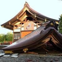 The collapsed Hayakita Shrine in the town of Abira, Hokkaido, which was damaged by a powerful earthquake last week, is seen Tuesday. | SATOKO KAWASAKI