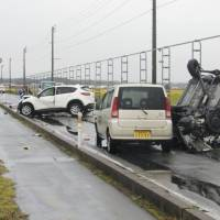 A four-car pileup in Tsugaru, Aomori Prefecture, early Saturday left four people dead and an equal number injured. | KYODO