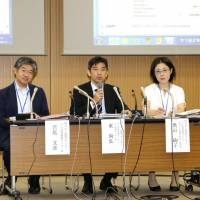 National Cancer Center researchers hold a news conference Monday in Tokyo prior to the release of three-year cancer survival rate data. | KYODO