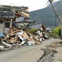 A photo taken on April 25, 2016, shows devastation from earthquakes in Minamiaso, Kumamoto Prefecture. Electronics maps to show information on disasters were used on a trial basis following the Kumamoto quakes. | KYODO