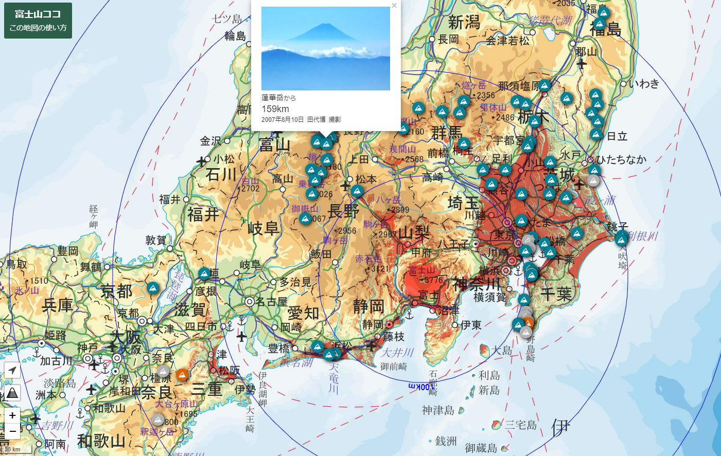 Online map plots the many spots that boast a view of Mount Fuji ...