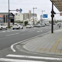 This area in the city of Wakayama, shown Saturday, is where a police officer lost a loaded pistol while guarding Prime Minister Shinzo Abe's motorcade. | KYODO