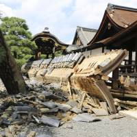 A wall on the southern side of the south Noh stage, a Japanese important cultural property, at UNESCO World Heritage-listed Nishi Honganji Temple in Kyoto collapsed on Wednesday, a day after powerful Typhoon Jebi hit western Japan. | KYODO