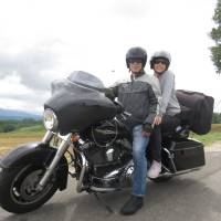 Learning the ropes: Louise George Kittaka sits pillion with her husband aboard their Harley-Davidson motorcycle. | LOUISE GEORGE KITTAKA