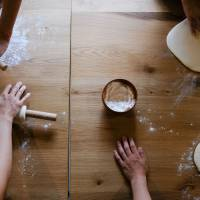 Ready, set, dough: Udon House guests learn to make their own noodles from scratch. | LANCE HENDERSTEIN