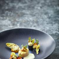 Plate of passion: Scallop, carrot, chicory and pine nuts. | KME STUDIOS